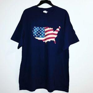 Men's 4th of July Patriotic USA T-Shirt Blue XL